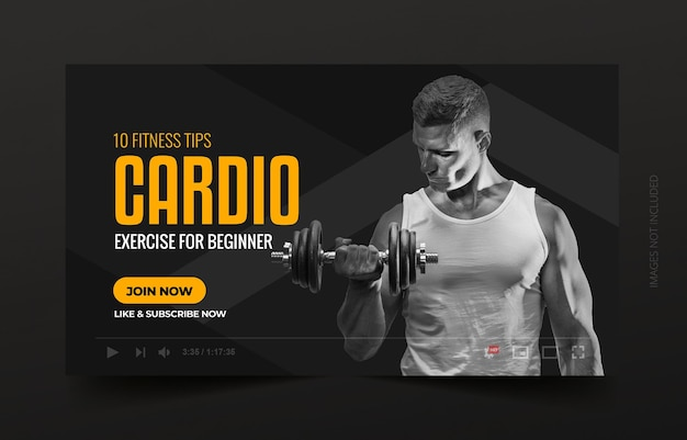 Fitness gym exercise youtube channel thumbnail and web banner Premium Vector