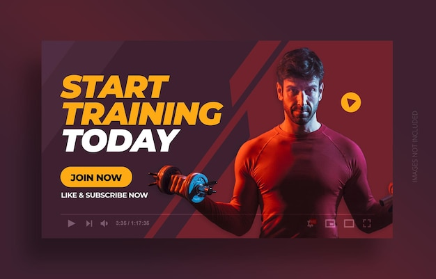 Fitness gym exercise youtube thumbnail and web banner template