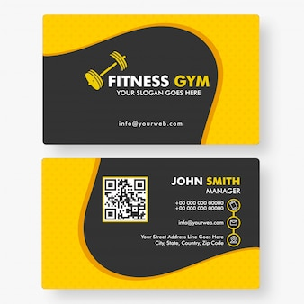Fitness gym horizontal template or business card
