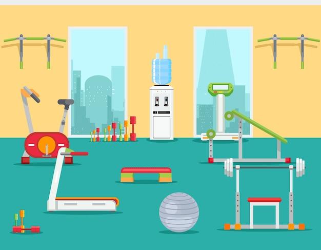 フラットスタイルのフィットネスジム。屋内トレーニング用のスポーツインテリアルーム。ベクトルイラスト