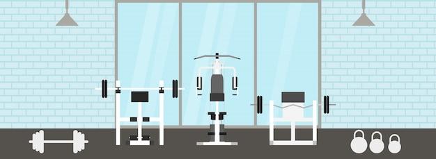 스포츠 장비 및 유산소 장비, 운동 자전거, 디딜 방아, 타원형 트레이너와 피트니스 체육관 인테리어. 플랫 스타일의 스포츠 클럽과 피트니스 개념