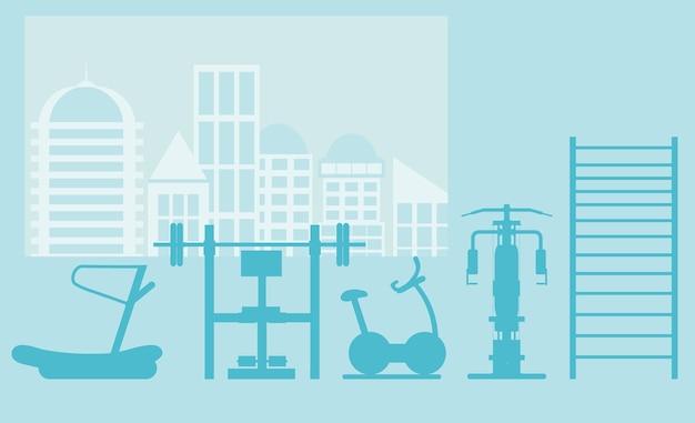 Интерьер фитнес-зала со спортивным оборудованием и кардиотренажерами, велотренажер, беговые дорожки