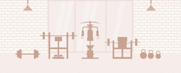 스포츠 장비 및 타원형 트레이너와 피트니스 체육관 인테리어. 플랫 스타일의 스포츠 클럽과 피트니스 개념