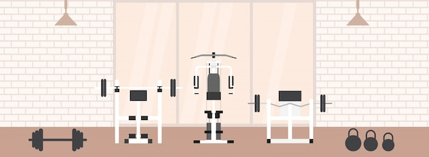 Fitness gym interior with sports equipments and cardio equipment, exercise bike, treadmills, elliptical trainers, . fitness concept with sport club in flat style