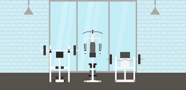 Fitness gym interior with sports equipments and cardio equipment, exercise bike, treadmills