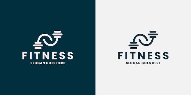 Дизайн логотипа спортзала фитнеса. мускулистые руки с концепцией штанги