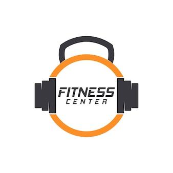 Фитнес тренажерный зал логотип дизайн шаблона векторные иллюстрации
