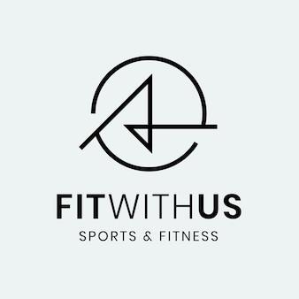 Modello di logo palestra fitness, illustrazione astratta nel vettore di design minimale