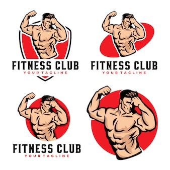 Fitness gym muscle logo set