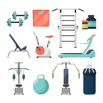 Fitness gym objects barbell and dumbbell