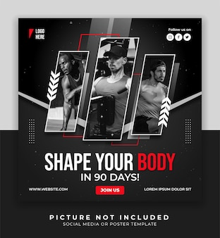 Fitness gym poster social media and instagram post template