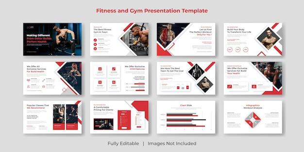 Фитнес-зал powerpoint презентация шаблон слайдов дизайн набора