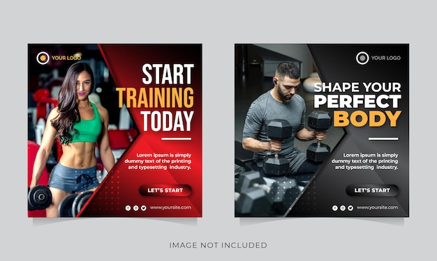 Fitness or gym social banner template