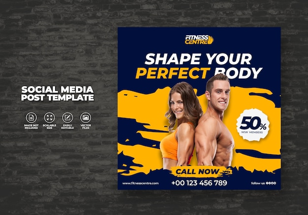 Fitness or gym social media banner or square excercise sport studio flyer template
