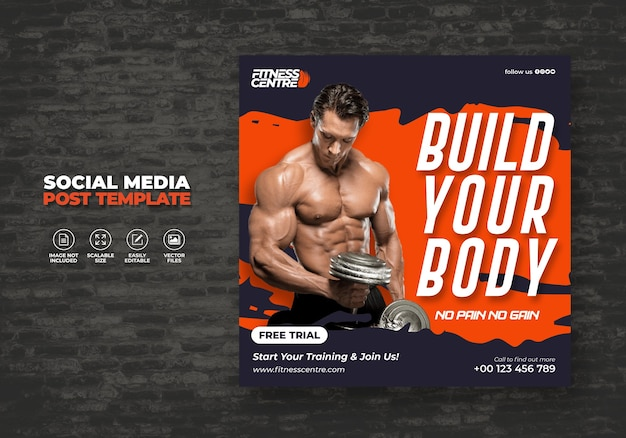 Fitness or gym social media banner or square sport studio flyer template