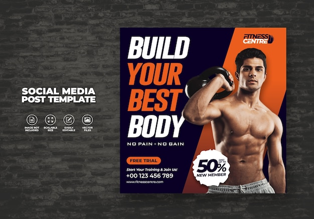 Fitness or gym social media banner or square sport studio flyer template