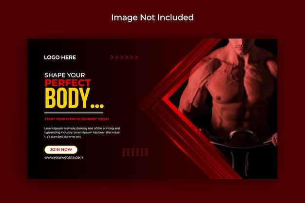 Fitness gym social media post flyer facebook cover and web banner premium vector