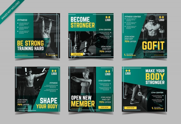 Fitness and gym social media post template
