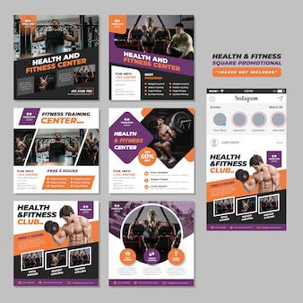 Fitness gym social media square promotional template