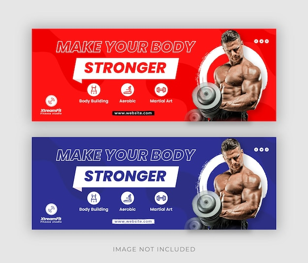 Fitness or gym social media web banner flyer and facebook cover photo design template premium vector