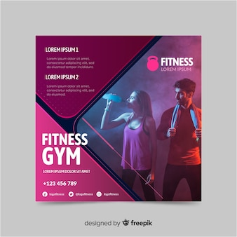 Fitness gym sport banner with photo