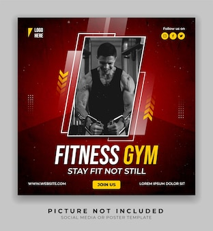 Fitness gym sports poster social media and instagram post template