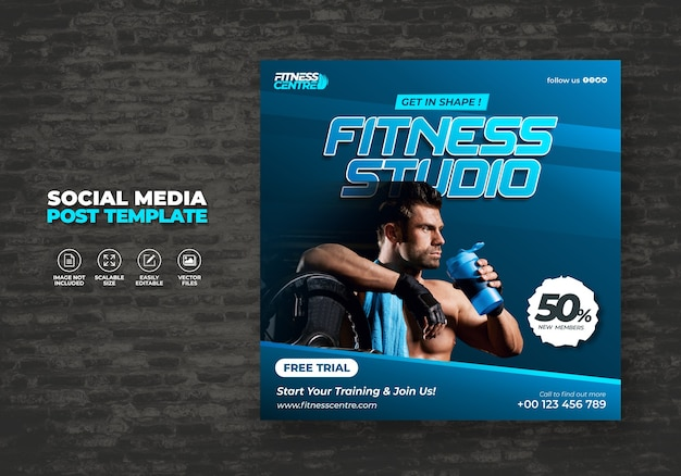Fitness or gym studio social media banner or square excercise sport flyer template