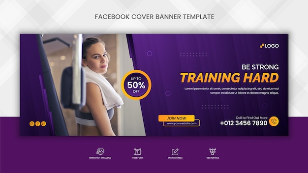 フィットネスジムトレーニングfacebookカバーとソーシャルメディアwebバナーテンプレート