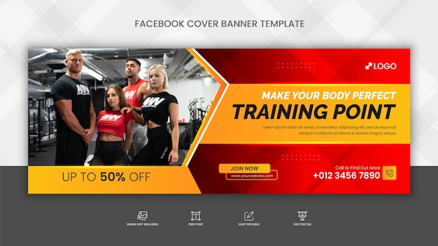 Fitness gym training facebook cover and social media web banner template