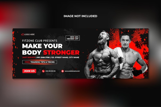 Fitness gym training facebook cover and web banner template premium vector