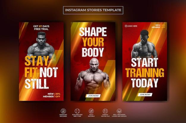 フィットネスジムトレーニングinstagramストーリーコレクションとwebバナーテンプレートプレミアムベクトル