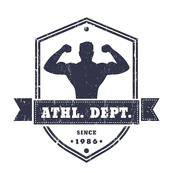 Fitness, gym vintage logo, badge, emblem with posing athlete on shield shape, isolated on white, texture can be removed,   illustration