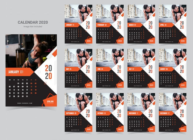 Fitness & gym wall calendar 2020