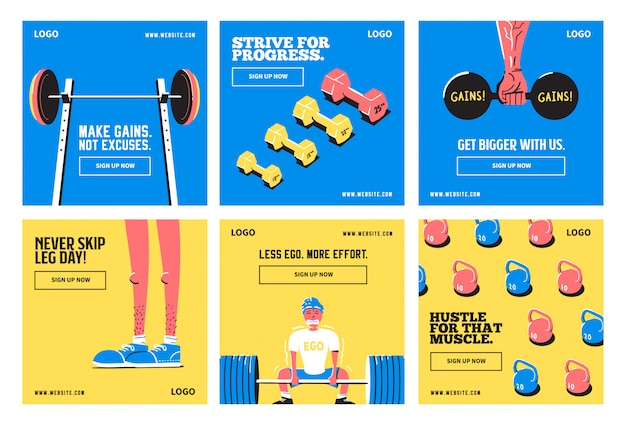 Fitness gym yoga social media post collection template