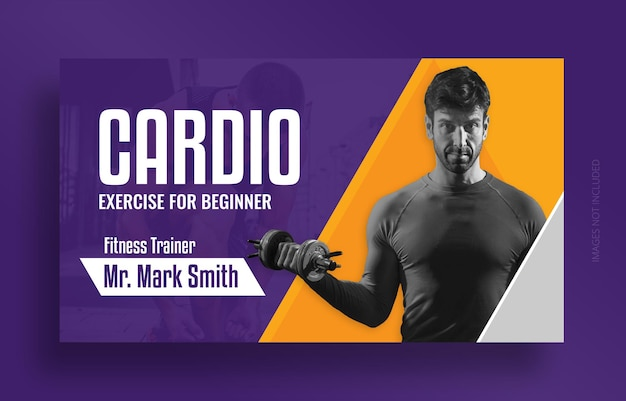 Fitness gym youtube thumbnail and web banner template