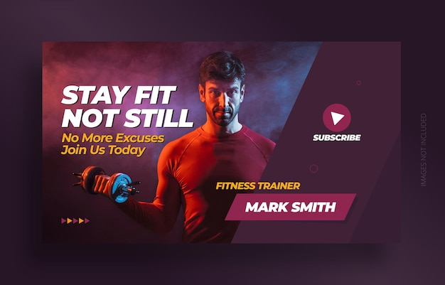 Fitness gym youtube video thumbnail and web banner template