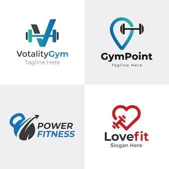 Шаблон логотипа тренажерный зал | шаблон логотипа фитнес | набор логотипов fitness & gym