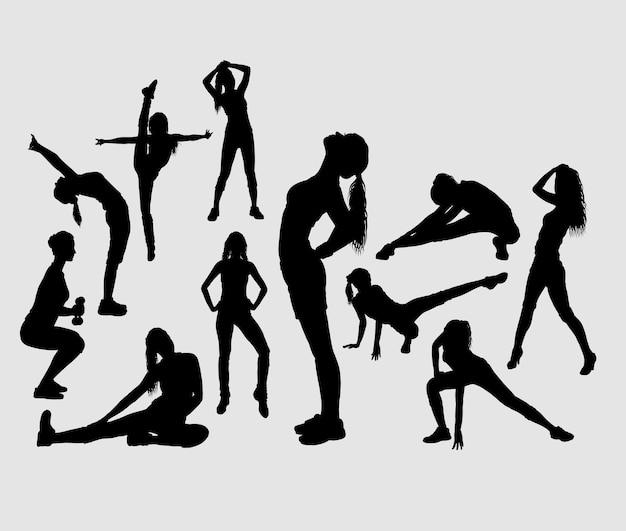 Fitness and gymnastic female sport silhouette