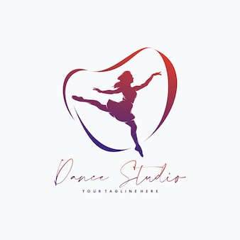 Fitness gymnastic with ribbon logo design