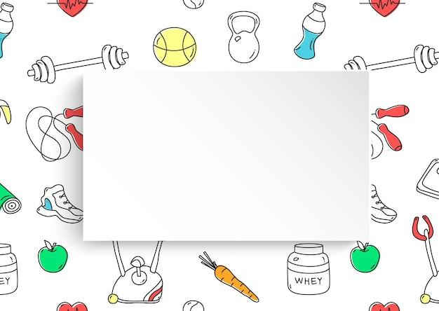 피트 니스 손으로 그린 3d 종이 프레임.
