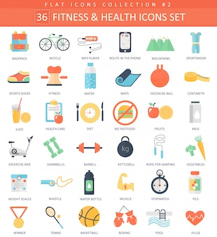 Fitness and health flat icons set