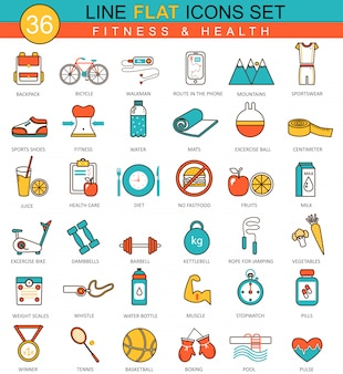 Fitness and health flat line icons set