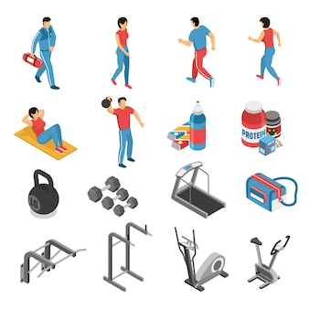 Fitness health isometric icons and characters set