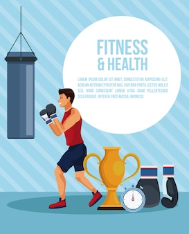 Fitness and health man infographic