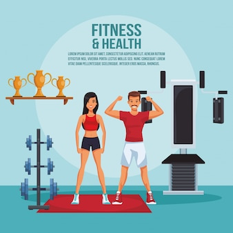 Fitness and health poster with information and elements vector illustration graphic design