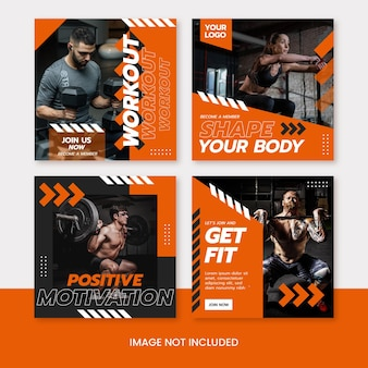 Fitness and health sport social media instagram post template
