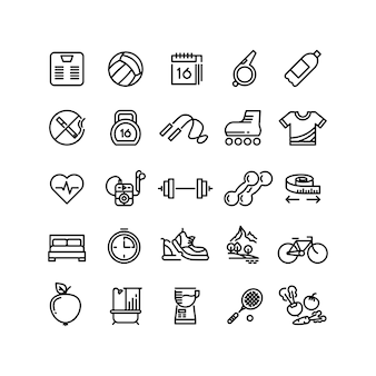 Fitness health sport vector outline icons