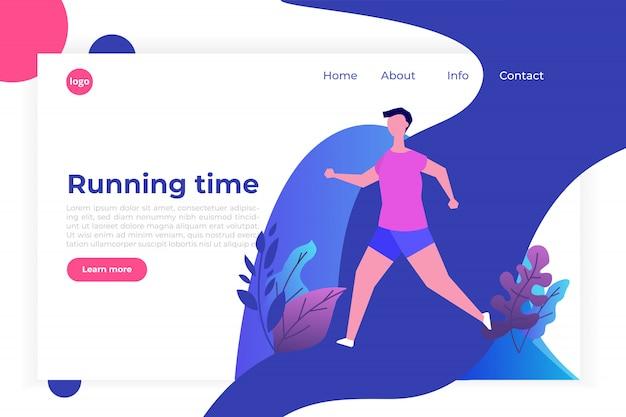 피트니스, 건강한 라이프 스타일 방문 페이지 템플릿. 지는 무게 개념. 웹 사이트 및 모바일 웹 사이트