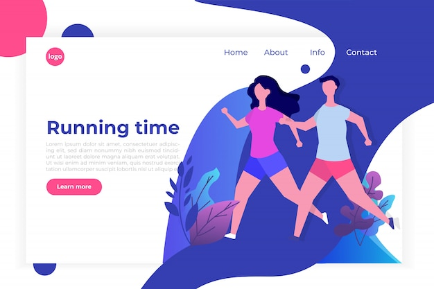 Fitness, healthy lifestyle landing page template. losing weight concept.  for website and mobile website