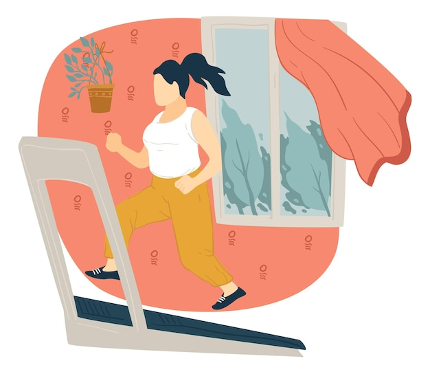 Fitness and healthy lifestyle, woman running on track at home. weight loss and keeping fit, girl in sportswear doing exercises and relaxing. active female character on quarantine. vector in flat style